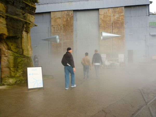 "It was a lovely sunny & hot dat on Cockatoo Island, but the #Sydney Biennale's installation by Fujiko Nakaya ""Clooud Parking in Linz"" produced an eerie fog. #Australia #travel #art"