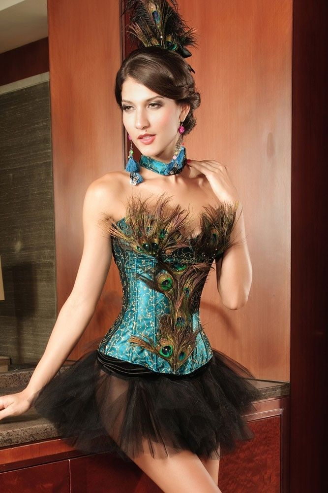 Showgirl Peacock Set Sexy Feather Corset, Tutu, Headpiece, Neck Tie, Intimate #Unbranded #HookEye