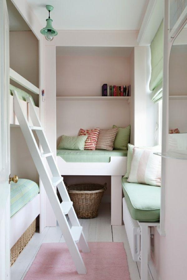 décoration-chambre-ado-filles-vert-rose-blanc-frais