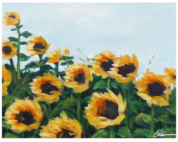 Sunflower Field Painting Sunflower Print Farmhouse Decor Farmhouse