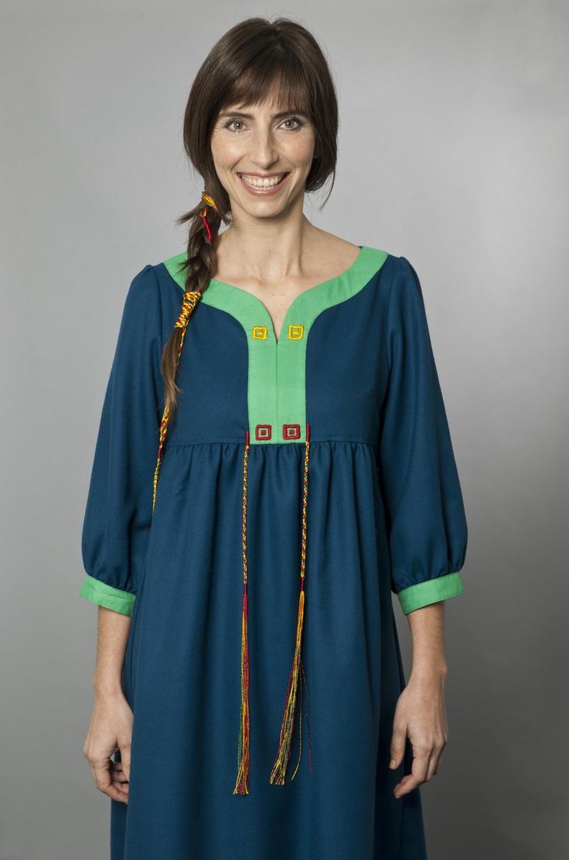 Long Dress with Designs Inspired by the Unku of the Inka Key/Vestido largo con aplicaciones inspiradas en el Unku de la Llave Inka