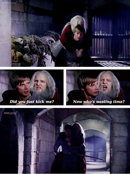 "BBC Merlin | Arthur and ""Old Merlin, aka the great dragoon"". One of my favorite lines, mostly because of the delivery. XD"