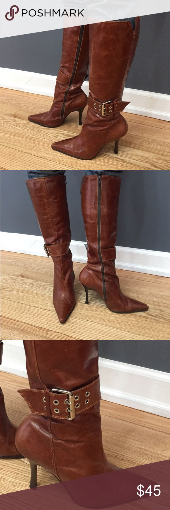(Pre-owned) Brown heels boots 👢👢😍 (Pre-owned) Brown High Heels Boots 👢👢gently used • comfortable • size 7 • leather • made in Brazil Shoes Heeled Boots
