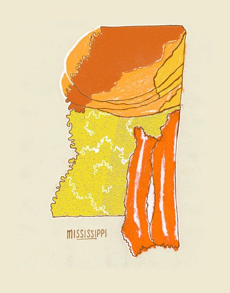Mississippi. The ultimate breakfast, pancakes, eggs and crispy bacon.