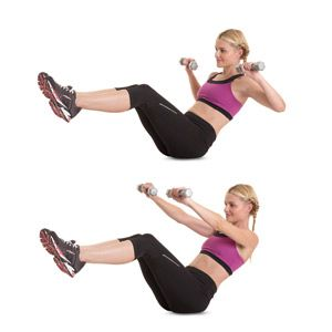 V-sit-incline-press. This is a great exercise that combines core and arms:) Balance