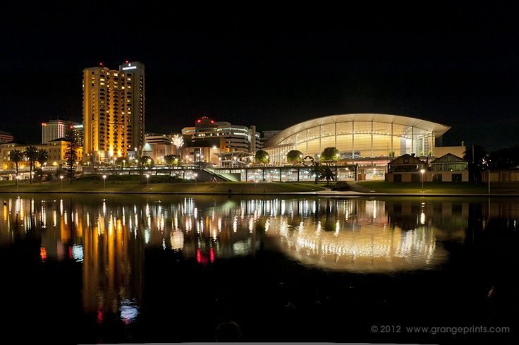 City of Adelaide at night from across the River Torrens well mainly the Intercontinental and the Convention Centre
