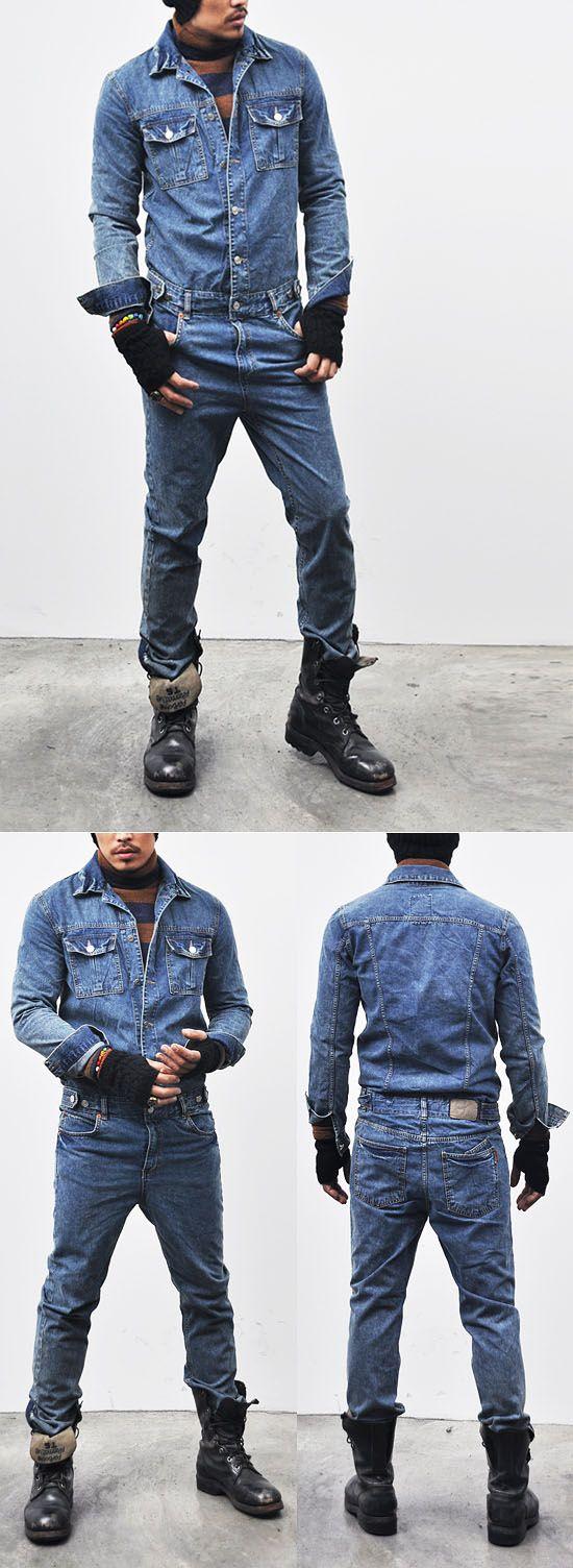 Mens Workwear Vintage Blue Denim Jumpsuit-Jeans 110