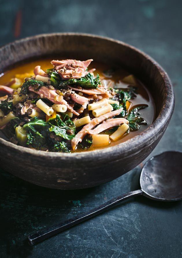 Ham Lentil and Kale Soup