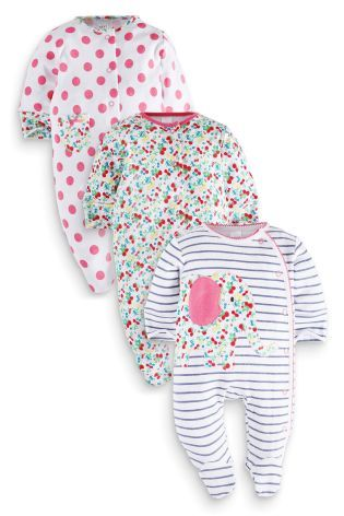 Next Three Pack Floral Elephant Sleepsuits