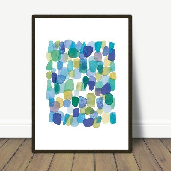 Watercolor Painting Sea Glass Watercolor Blue Green Beach Finds