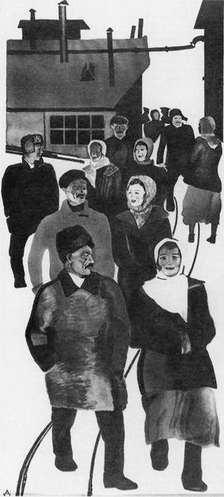 Художник Александр Дейнека. Живопись. Со смены. . 1927