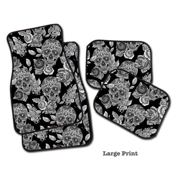 Sugar Skull Car Mats Your Choice 2 Front 2 Rear or by InkandRags