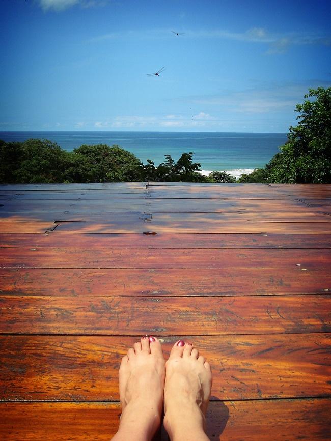 Buena Vista Surf Club - San Juan del Sur, Nicaragua - sundeck beach platform yoga - photo by Lara Dalinsky via AFAR Wanderlist