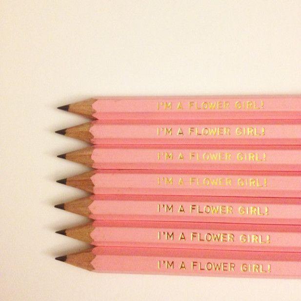 Flower girl pencils. Too cute!