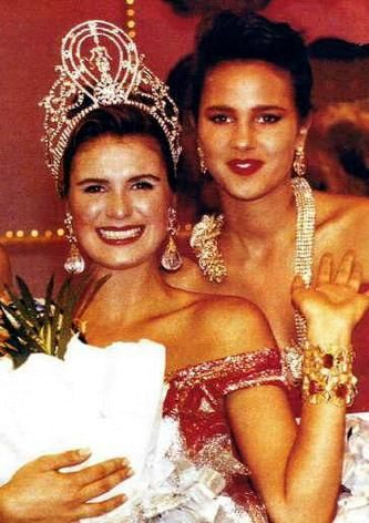 1992 Miss Universe Michelle McLean (Nam ibia) and her first runner up Paola Turbay, Miss Colombia