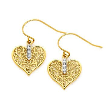 14K Gold Filigree Heart Earrings on Fish Hook Wires.