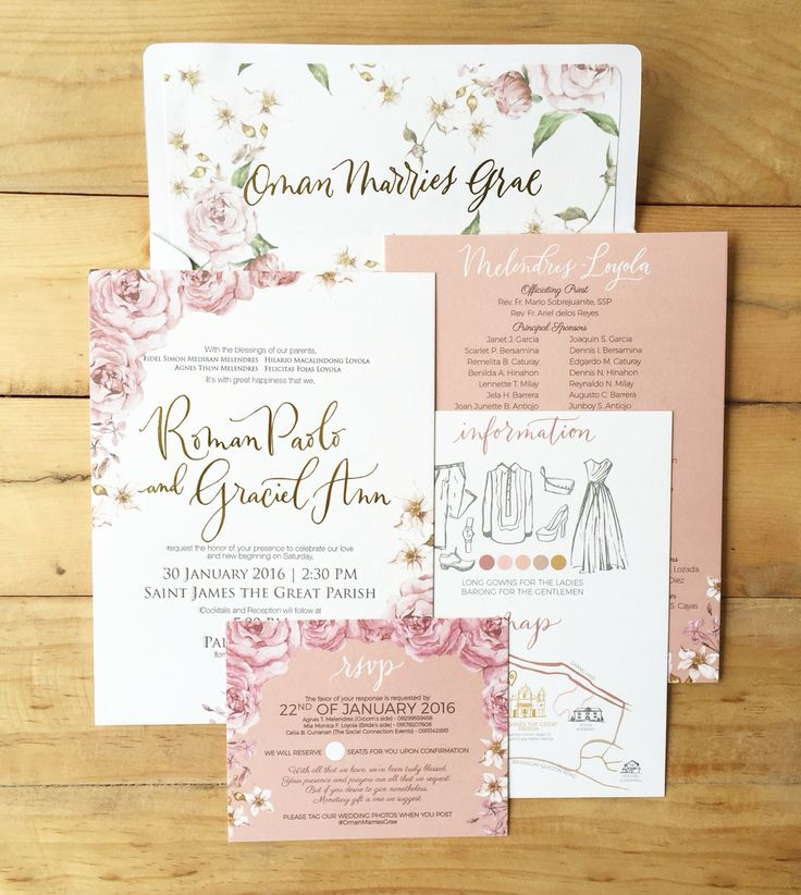 Roman Paolo And Graciel Ann Bespoke Suite Old Rose Wedding Invitation By Ink Scribbler
