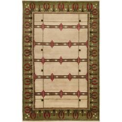 Hand-knotted Beige Novelty Airedle New Zealand Wool Rug (5' x 8')