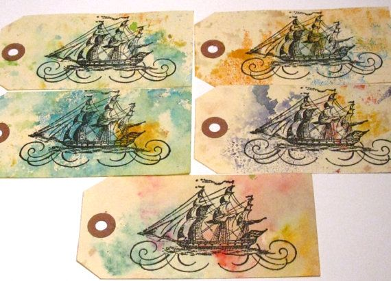 Ship Gift Tags Hand stamped Ship Tags Sailing Ship  by MouseGarden