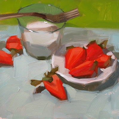 Strawberries and Milk, by Carol Marine. Makes me salivate!