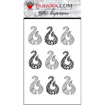 faux tatouage hameçon polynésien