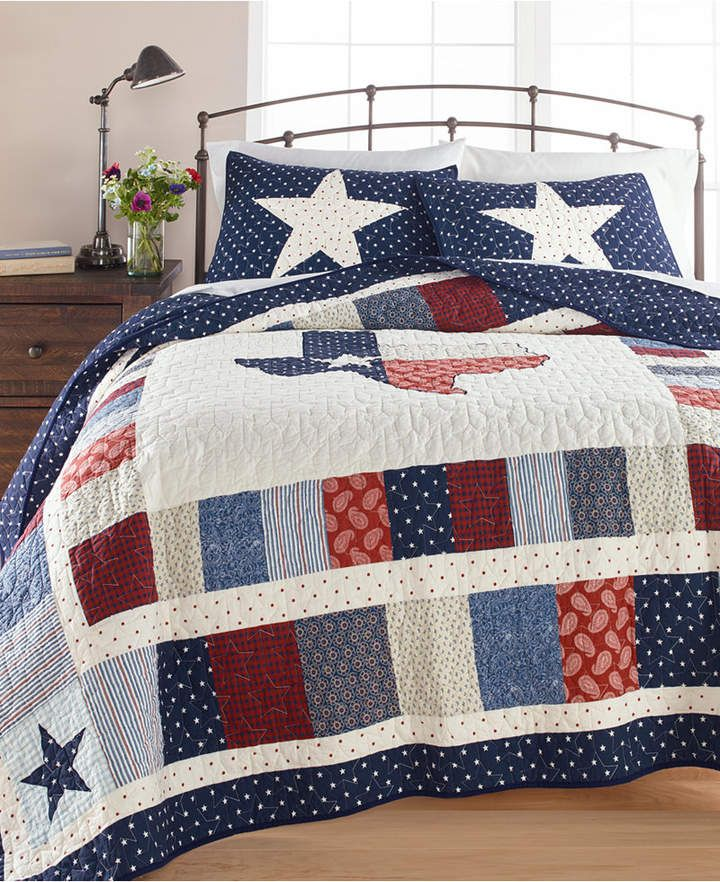 Martha Stewart Collection Texas Patchwork Cotton Full Queen Quilt Created For Macy S King Quilt Queen Quilt Texas Decor