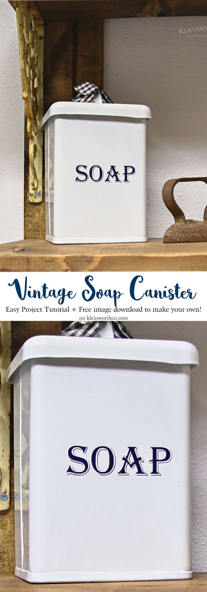 Vintage Soap Canister Cricut Tutorial that's easy to make. What a great way to decorate your laundry space with fun, vintage inspired storage. AD #cricutmade @officialcricut