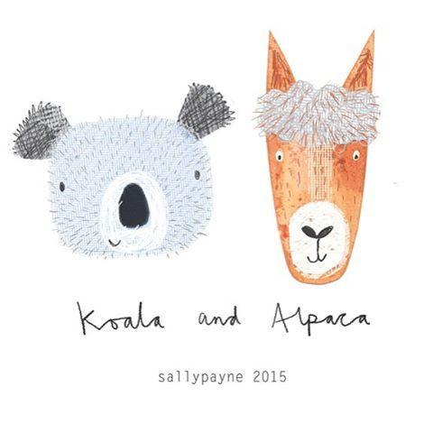Koala and an Alpaca #animals #illustration #collage #koala #alpaca