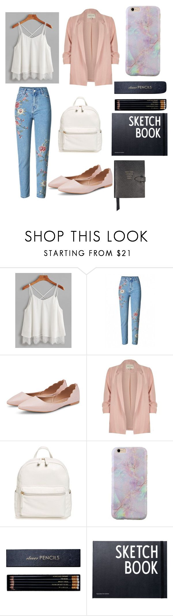"""Girly"" by butterfly-18 on Polyvore featuring River Island, BP., Sloane Stationery, Design Letters and Smythson"