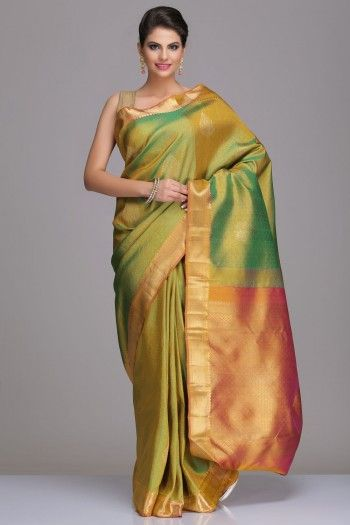 Lime Green Kanjivaram Pure Silk Saree With Floral Motifs And Gold Zari Pallu And Border With Real Zari