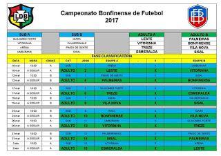 NONATO NOTÍCIAS: Esporte: LDB divulga Tabela do Campeonato Bonfinen...