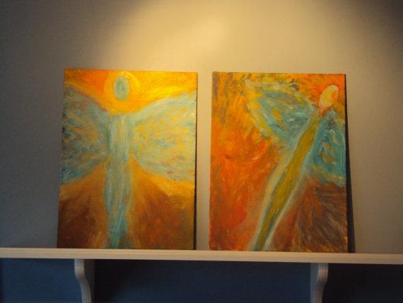 Lightness and Dark acrylic painting by HunnybearsandTrees on Etsy