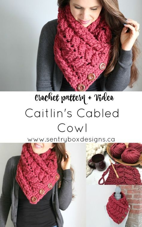ac77dbb9304 Caitlin s Cabled Cowl - MJ s off the Hook Designs  crochet  crochetpattern   sentryboxdesigns  crochetcowl  buttonupcowl  crossovercowl  bulkyknits ...
