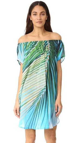 A magnified palm-frond design adds a graphic touch to this graceful Samudra caftan. Elastic off-shoulder neckline. Side slits. Short sleeves.