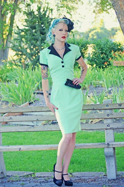 I am obsessed with this dress!!! #etsy   Pinup Girl Rockabilly Dress with Bow Vintage by NicoleKatherine, $115.00