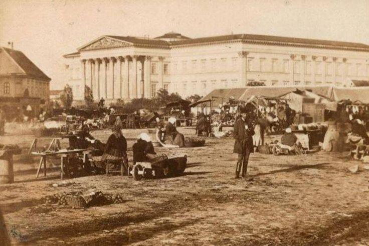 Piac a Széna (Kálvin) téren, 1860-as évek