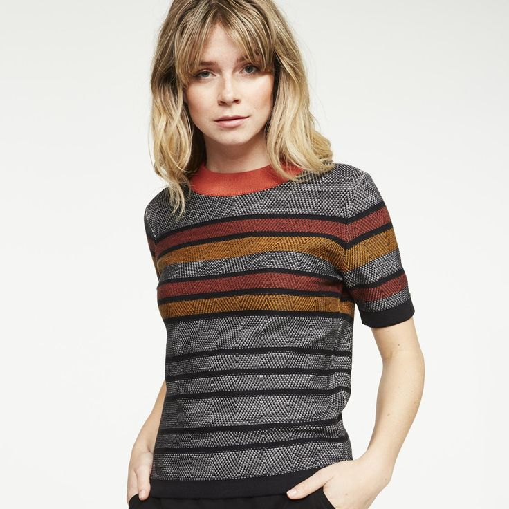 Swooning over this striped, short-sleeved sweater in grey and orange.      • • •      Pullover Allover, 100% organic cotton, Regular fit, GOTS - sustainable materials and fair production