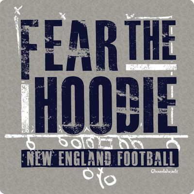 If you're a true New England fan, you know what this means! Some coaches wear a shirt and tie, others wear polos; ours wears a hoodie. You must fear the hoodie at all times, folks! Whether he's in Foxboro at Gillette or any other field, our main man just sits on the sidelines plotting world dominance peering out of his hoodie. This tee or sweatshirt is perfect for New England fans worldwide. http://www.chowdaheadz.com/fear-the-hoodie.html