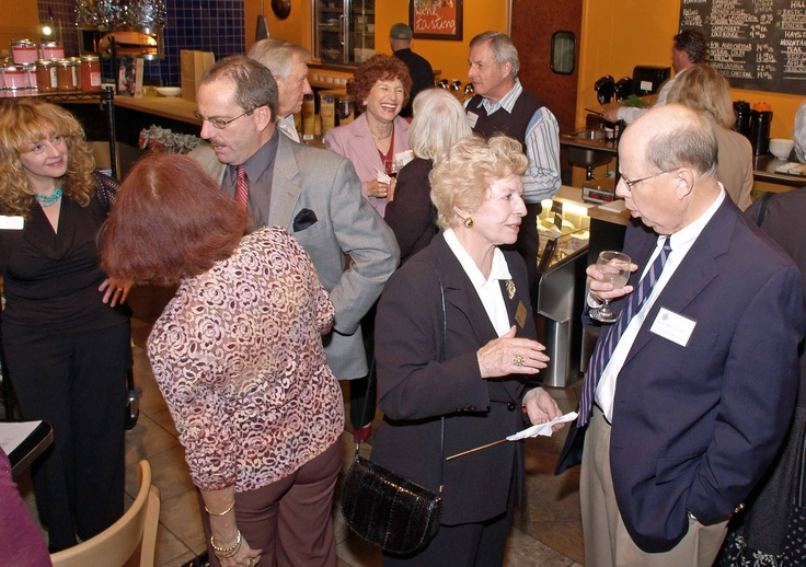 Carla Rayman, Greater Sarasota Chamber of Commerce President Steve Queior, Liliane Sealy-Schrock & Dr. Edward Williams at the January 2006 Sarasota Sister Cities New Members orientation at Southgate Gourmet in Sarasota