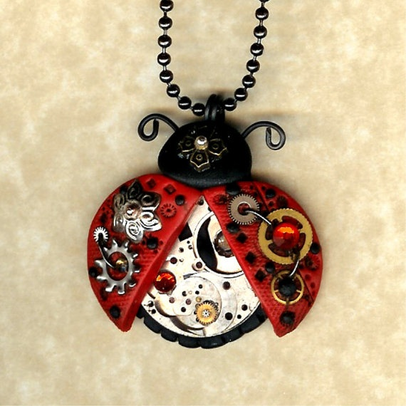 Steampunk  Red Ladybug Necklace Polymer Clay Jewelry by Freeheart1, $26.00