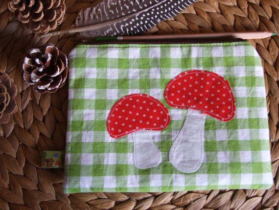 Zipper Pouch Toadstools Mushroom Applique by KatieClairesCottage