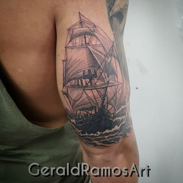 mulpix pirate ship did today half sleeve in progress with hustlebutterdeluxe tattoo ideas. Black Bedroom Furniture Sets. Home Design Ideas