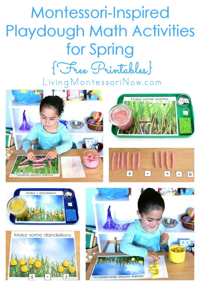 These Montessori-inspired spring playdough math activities use free printables for worm and dandelion numbers & counters, hands-on addition, and greater than.