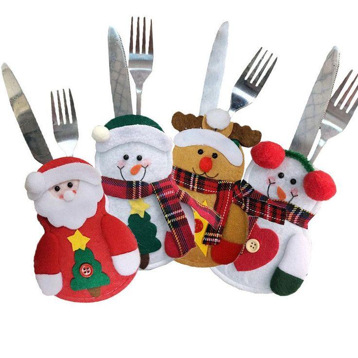 4pcs Santa Claus Snowman Elk Knife and Fork Storage Bag Christmas Decoration - COLORMIX