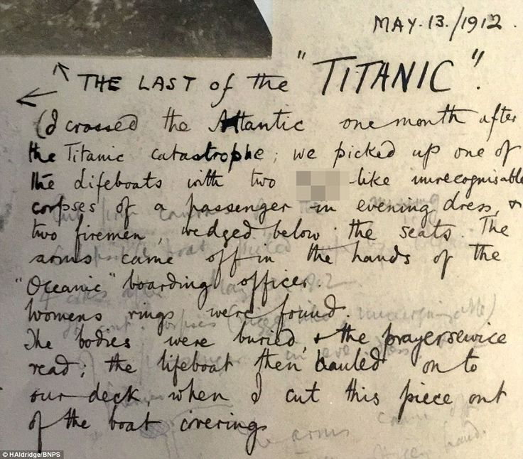 Gruesome: This account penned by a passenger on board RMS Oceanic reveals the decomposed state the bodies were in when recovered