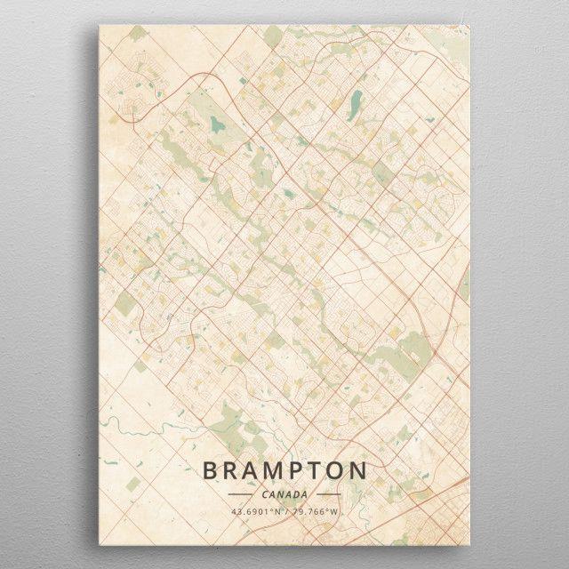 Brampton Canada Map.Brampton Canada Vintage City Map Metal Poster Vintage Maps