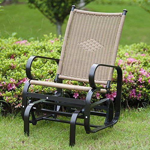Patiopost Glider Chair Outdoor Pe Wicker Patio Rocking Ch