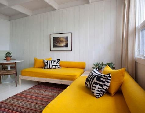 yellow sofas.  In Montauk  -Ruschmeyer's a 19-room hotel, restaurant, and bar located on three acres of lakeside woodland.