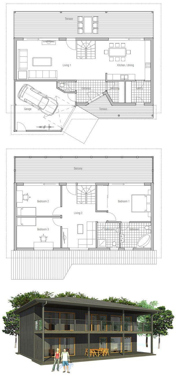 Small home plan, two floors, three bedrooms, spacious interior areas, garage, affordable building budget.
