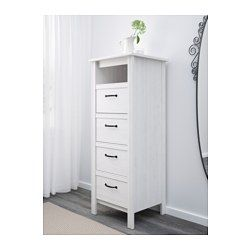 IKEA - BRUSALI, Chest of 4 drawers, , Of course your home should be a safe place for the entire family. That's why a safety fitting is included so that you can attach the chest of drawers to the wall.Smooth running drawers with pull-out stop.